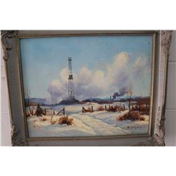 Framed original oil on canvas painting of a winter scene in Turner Valley signed by artist R. (Rolan