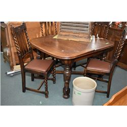 Antique oak Tudor style draw leaf dining table and six barley twist oak dining chairs with upholster