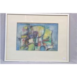 "Two framed pictures including original abstract pastel, no artist signature seen, 12"" X 17"" and a li"