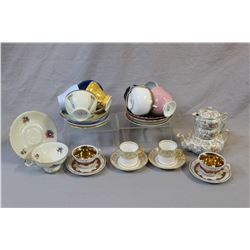 Nine china tea cups and saucers including Havilland, Shelley, Aynsley etc. four china demi cups and