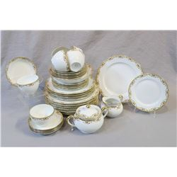 "Large selection Limoges ""Vignaurd"", bone china including plates, cups and saucers, lidded sugar and"