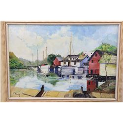 "Framed acrylic on board painting of a harbour scene signed by artist G. Smith, 11"" X 15"""
