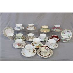 Thirteen china tea cups and saucers including Royal Albert, Royal Vale, Colough, Aynsley and Coronat
