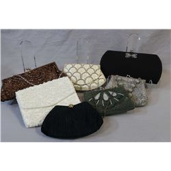 Seven vintage evening bags including beaded clutch purses including Carlo Fellini etc,