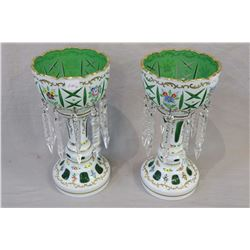 Pair of Bohemian milk glass cut to green girandoles with hand painted decoration and hanging lustres
