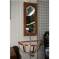 Copper demi-lune shaped wall mount pot holder with hangers plus an oak wall mount etched mirror, 30""