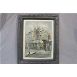 "Framed oil on canvas painting of a European street scene signed by artist G. Voggle, 16"" X 12"""