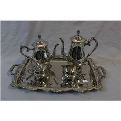 Five piece silver-plate tea service including double handled tray, two pots, cream and sugar