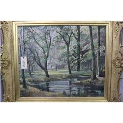 "Large gilt framed oil on canvas painting of a treed pond signed by artist Tom Gilfilan (?) 25"" X 30"""