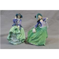 Two Royal Doulton figurines including Top O' the Hill HN1833 and Autumn Breezes HN1913
