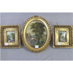 Three small gilt framed oil paintings of 18th century pastoral scenes, two signed by Van Thoren 3 1/