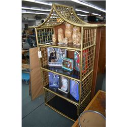 Bamboo style four tier Pagoda motif display with glass shelves
