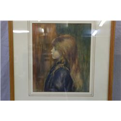 Two framed prints including large mother and child and a small portrait of a young girl by Renoir