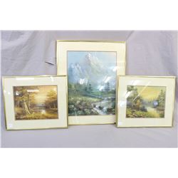 "Three framed oil paintings including two landscapes by artist Whitlem 8"" X 10"" and one framed mounta"