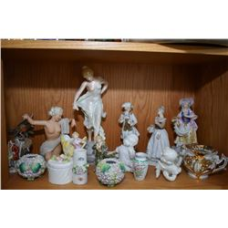 Shelf lot of collectibles including figurines, Occupied Japan, Lego, porcelain birds etc.