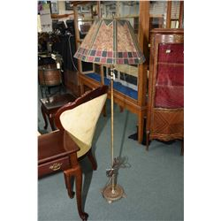 Arts & Crafts floor lamp with mica shade