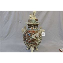 Antique Japanese Satsuma lidded vase with double Foo dog handles and finial and painted fight scene