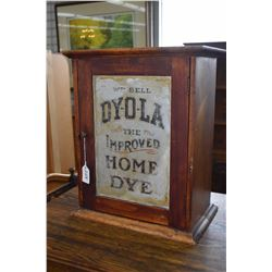 "Antique ""Dyola Improved Home Dye"" retail counter top cabinet with original inner and outer labelling"