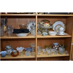 Two shelf lots of collectibles including lady's vintage beaded top, pressed glass including cake com