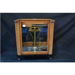 Vintage Stanton Instruments Ltd., England model CB 3 scientific balance scale in wood and glass case