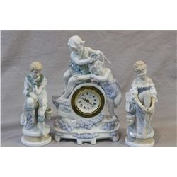 "Figural Phinney Walker, German made figural porcelain clock and a pair 7 1/2"" masquerade type figure"