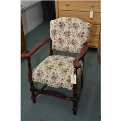 Mid 20th century tapestry upholstered button tufted, open arm parlour chair