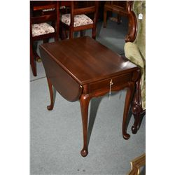 Solid cherry single door, drop side occasional table made by Gibbard