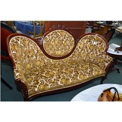 Victorian style mid 20th century channel and button tufted cameo back settee with floral show wood