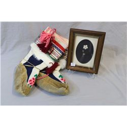 Small framed Caribou hair tufting by Barbery Creighton, Blood reserve Alberta and a pair of crewel w