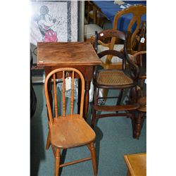 Child's size spindle back chair, single drawer tall occasional table and an antique high chair for d