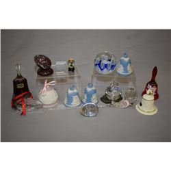 Selection of collectible bells and paperweights including Wedgwood, Waterford crystal, Baccarat crys