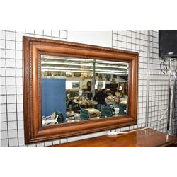 """Large wood framed bevelled wall mirror, overall dimensions 38"""" X 52"""""""