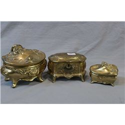 Three antique cast jewellery caskets including two Art Nouveau and one etched Victorian style