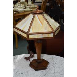 Slag glass and oak parlour lamp circa 1905