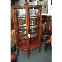Reproduction Sheraton style single drawer, curved glass curio cabinet with mirrored back and glass s