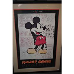 Large framed Mickey Mouse anniversary print 1928-1998
