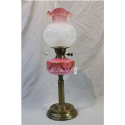 Antique English brass and glass oil lamp with hand painted font plus chimney and frosted fluted glas