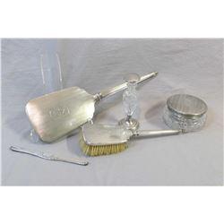 Vintage Birks sterling silver dresser set including hairbrush, hand mirror, comb slide, crystal dres