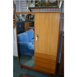 Danish style chiffarobe with mirrored door and fitted interior and four drawers