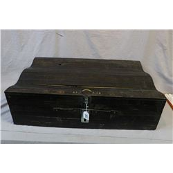 Interesting hand made hinged lid blanket box with wave design top