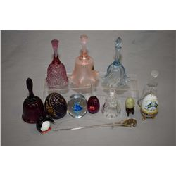 Selection of collectible bells and paperweights including Baccarat crystal, Waterford crystal, Lenno
