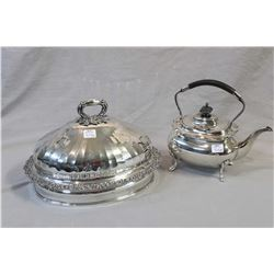"""Silver plate tea pot and 12"""" oval meat dome"""