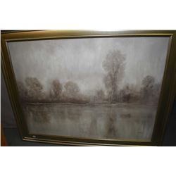 Large decor oilette picture in silver tone frame