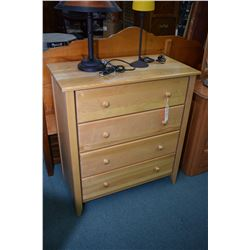 Modern four drawer highboy with natural finish