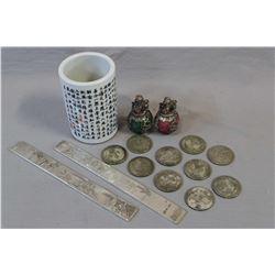 """Selection of Chinese scroll weights and a 4"""" Chinese brush pot and a selection of Chinese republic p"""