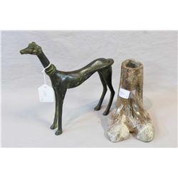 "Sino-Tibetan ceremonial bone pot purportedly circa 1800's and a 9"" tall bronze dog statue"