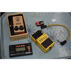 Boss TU-8 guitar tuner, a Bass Overdrive OBD-3 pedal and a MXR envelop filter pedal
