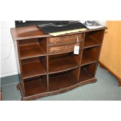 Antique open display unit with eight cubby holes and two drawers