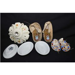 Two pairs of Aboriginal beaded leather moccasins, vintage decorative ceramic ceiling fixture, a pair