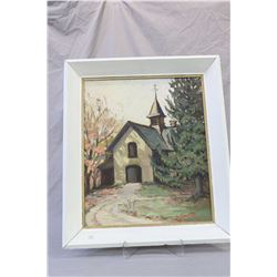 """Two framed original acrylic on board paintings including a church in rural setting 18"""" X 16"""" and a t"""